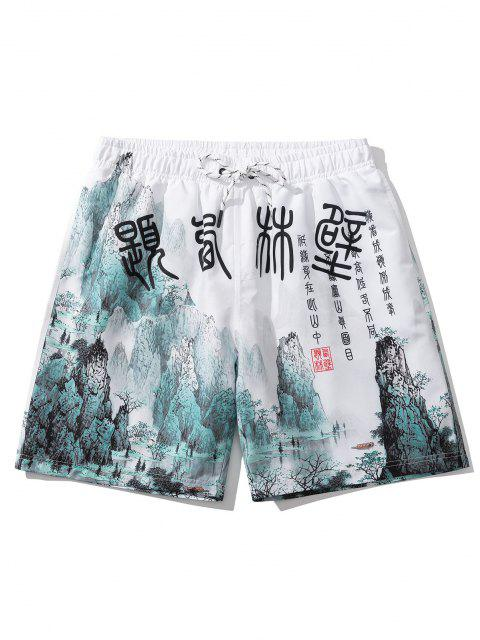 Ink Painting Print Oriental Casual Shorts - أبيض M Mobile