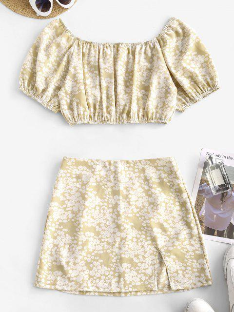 womens Ditsy Print Split Hem Two Piece Dress - LIGHT COFFEE M Mobile