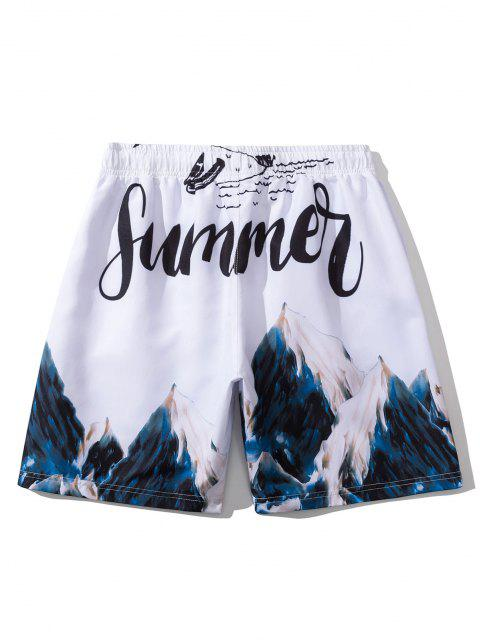trendy Mountain Painting Letter Print Casual Shorts - WHITE L Mobile