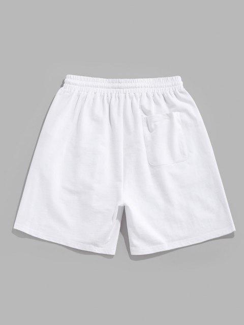 outfit ZAFUL Flower Print Drawstring Sweat Shorts - WHITE XL Mobile