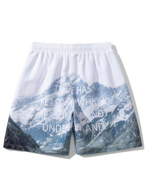 ladies Mountain Letters Print Casual Shorts - WHITE L Mobile