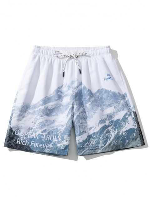 chic Mountain Letters Print Casual Shorts - WHITE XL Mobile