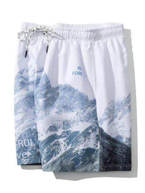 Berg Buchstabedruck Lässige Shorts - Weiß XL Mobile