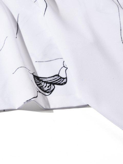 women's Figure Drawing Print Short Sleeve Shirt - WHITE 2XL Mobile
