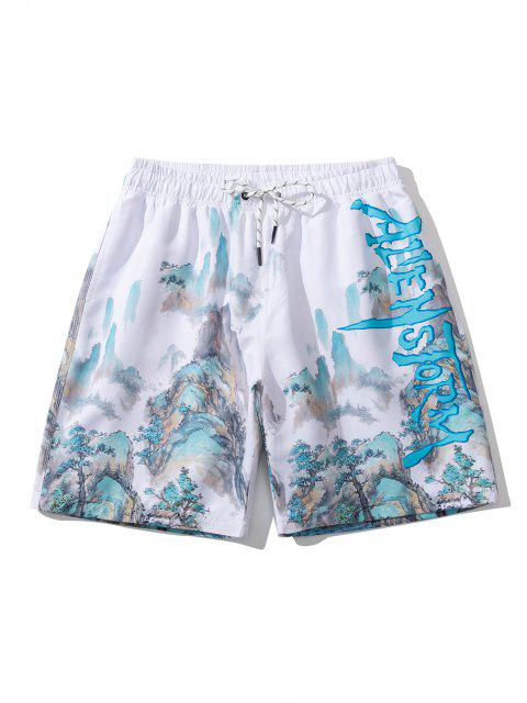 best Chinoiserie Landscape Painting Print Shorts - WHITE L Mobile