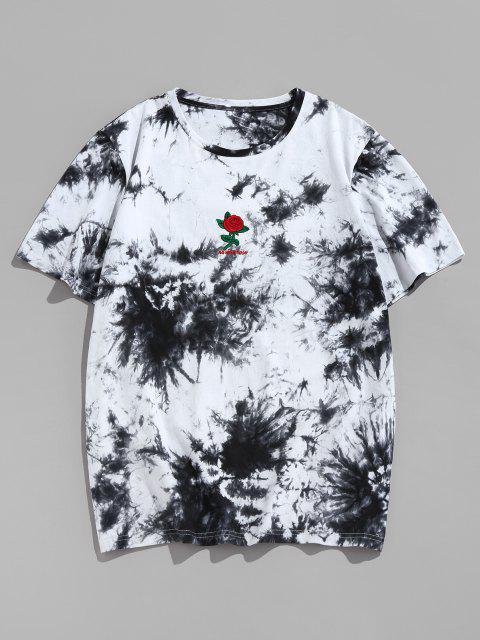 ZAFUL T-shirt Bordado de Flores e Tingimento de Gravata com Impressão de Rosa - Preto S Mobile