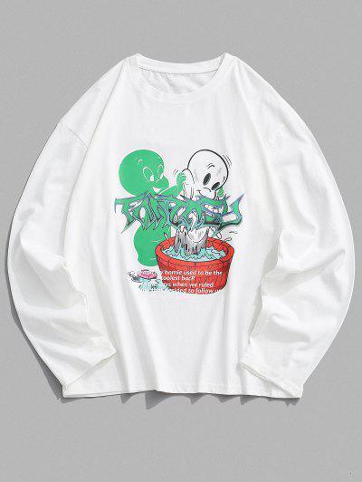 Long Sleeve Cartoon Graphic T Shirt - White M