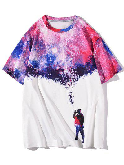 Galaxy Smoking Figure Short Sleeve T-shirt - White Xl
