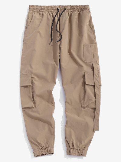 Multi Pockets Patched Cargo Pants - Licht Khaki L