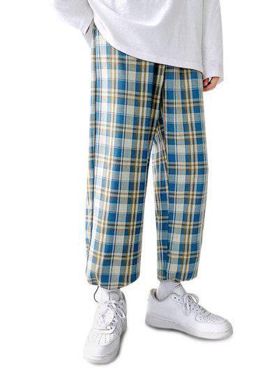 Plaid Pattern Toggle Cuff Drawstring Pants - Blue S