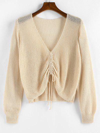 ZAFUL Solid Cinched Front V Neck Plus Size Sweater - Light Yellow L