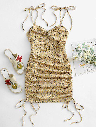 Ditsy Floral Tie Shoulder Cinched Twist Mini Dress - Light Yellow L