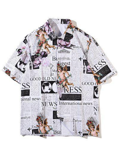 Short Sleeve Angel Renaissance Graphic Vintage Shirt - White M