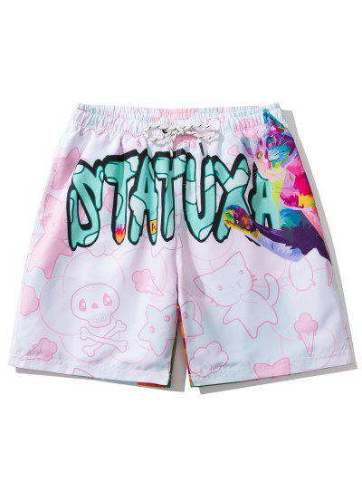 Iridescent Cat Letter Graphic Print Drawstring Shorts - Pig Pink L