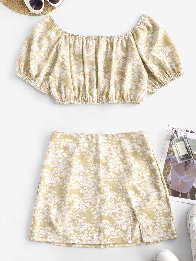 Ditsy Print Split Hem Two Piece Dress - Light Coffee S