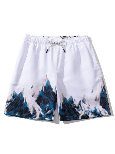 Mountain Painting Letter Print Casual Shorts - White L