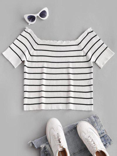ZAFUL Plus Size Rib-knit Lettuce Trim Striped Knitwear - White 2xl
