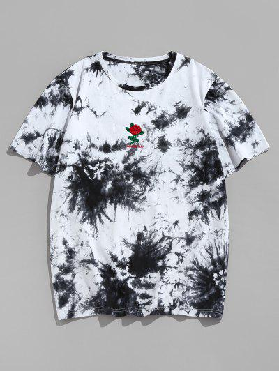 ZAFUL Rose Flower Embroidered Tie Dye Print T-shirt - Black L