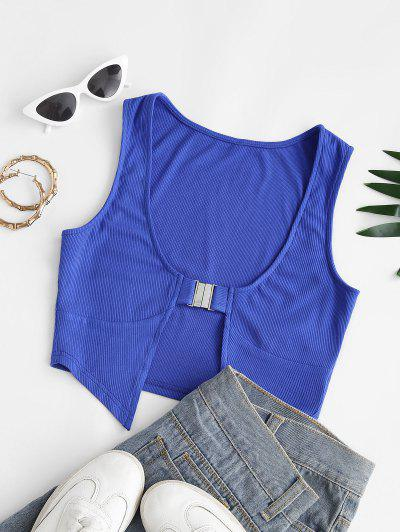 ZAFUL Buckle Front Ribbed Cropped Tank Top - Blue S