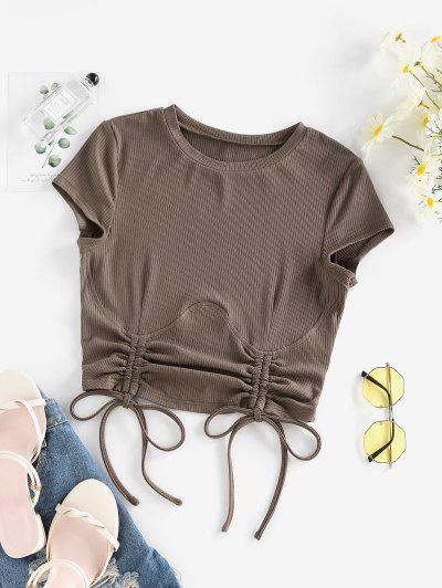 ZAFUL Ribbed Cinched Underbust Design Crop T Shirt - Deep Coffee S