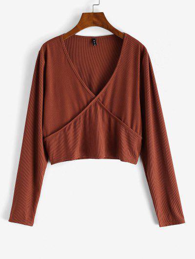 ZAFUL Plus Size V Neck Rib-knit Long Sleeve Top - Deep Red 5xl