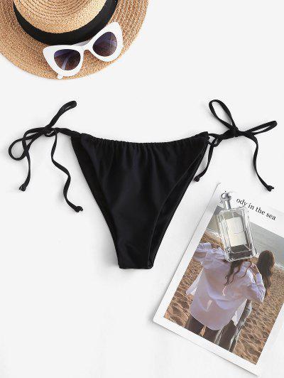 ZAFUL Cinched Tie Side String Bikini Bottom - Black L