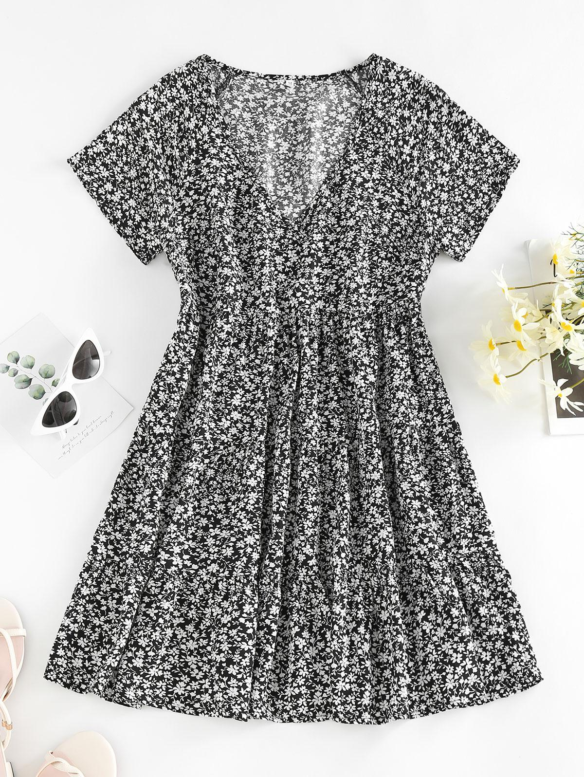 ZAFUL Ditsy Floral A Line Plunging Mini Dress