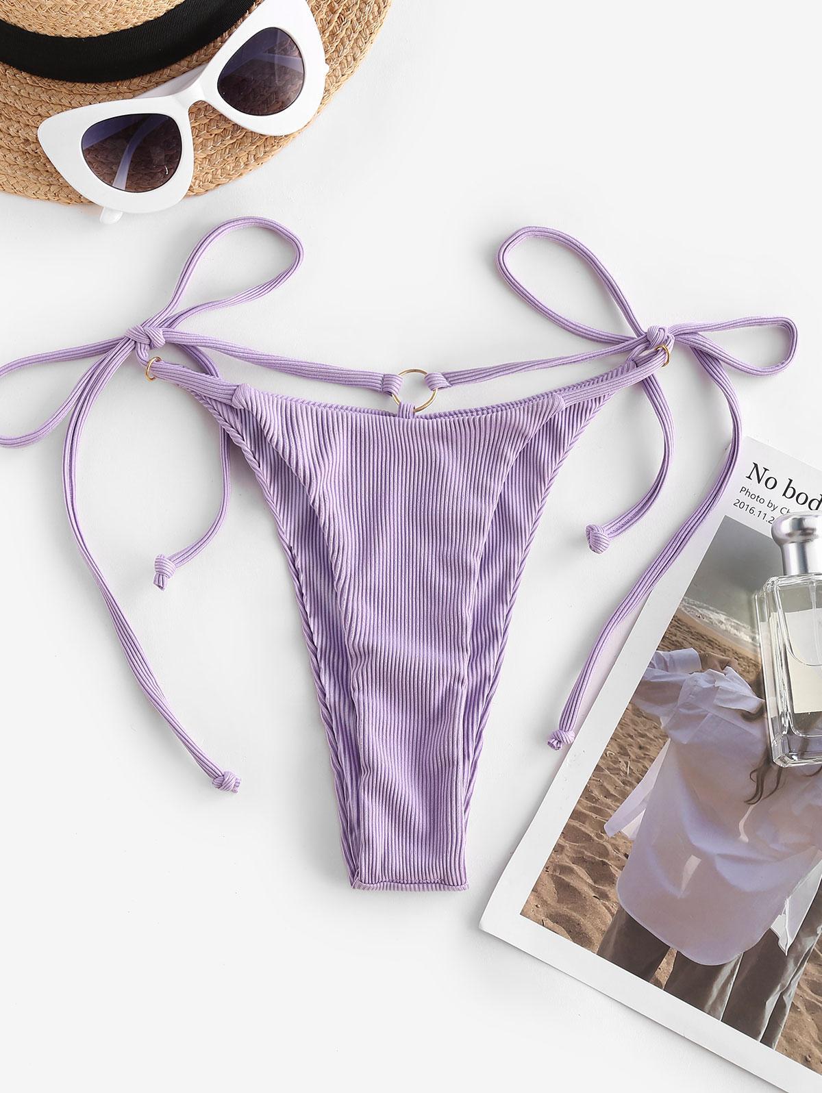 ZAFUL Side Tie O Ring High Cut Bikini Bottom