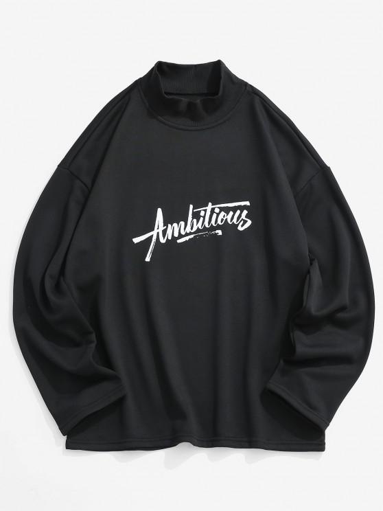 Ambitious Print Drop Shoulder Sweatshirt - أسود XL