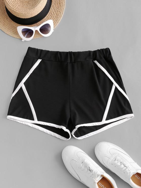 Pantaloncini a Vita Alta con Bordi a Contrasto - Nero XL