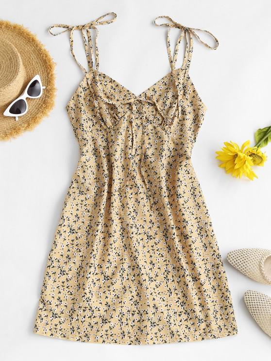 sale Ditsy Floral Tie Shoulder Bustier Cami Dress - LIGHT YELLOW L
