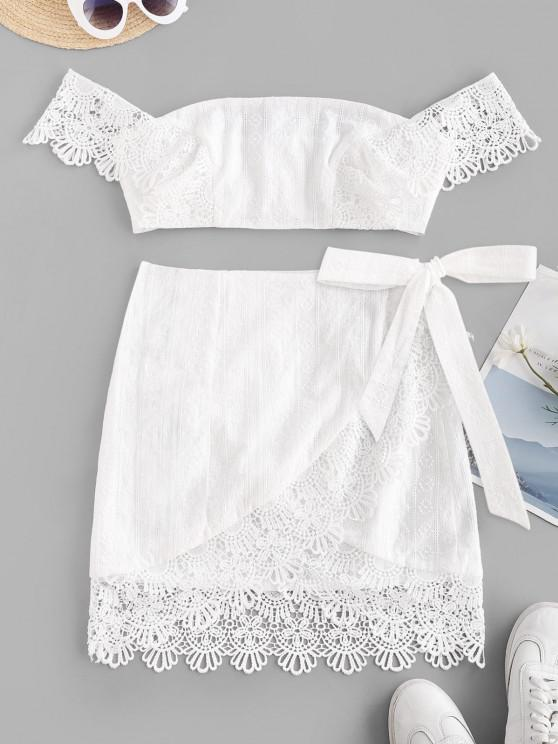 best ZAFUL Off Shoulder Embroidered Guipure Lace Panel Top and Wrap Skirt Set - WHITE M
