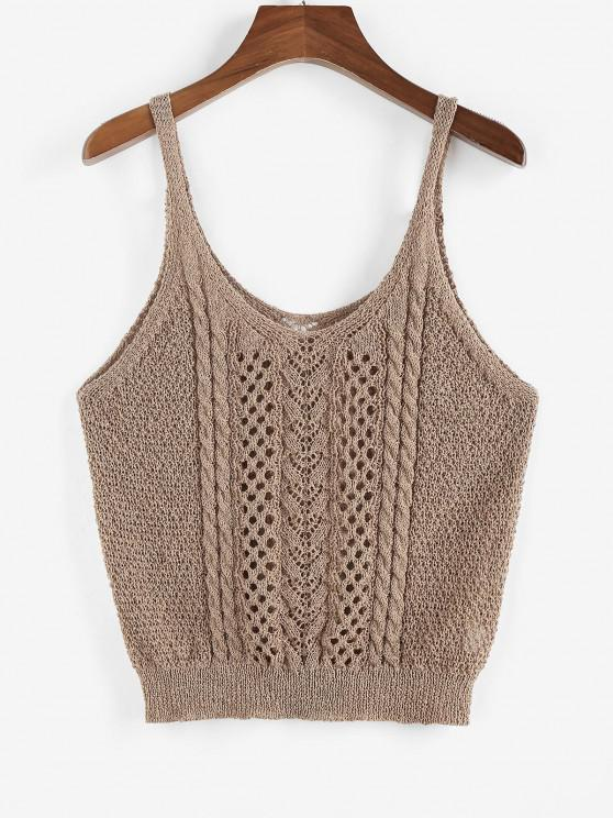 affordable ZAFUL Solid Cable Pointelle Knit Plus Size Sweater Vest - COFFEE L