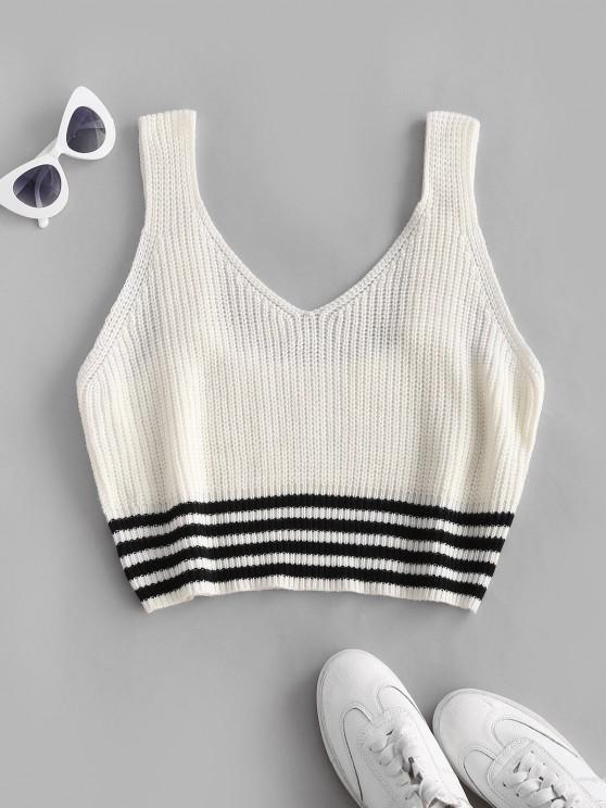 ZAFUL Plus Size Striped Hem Sweater Vest - أبيض 3XL