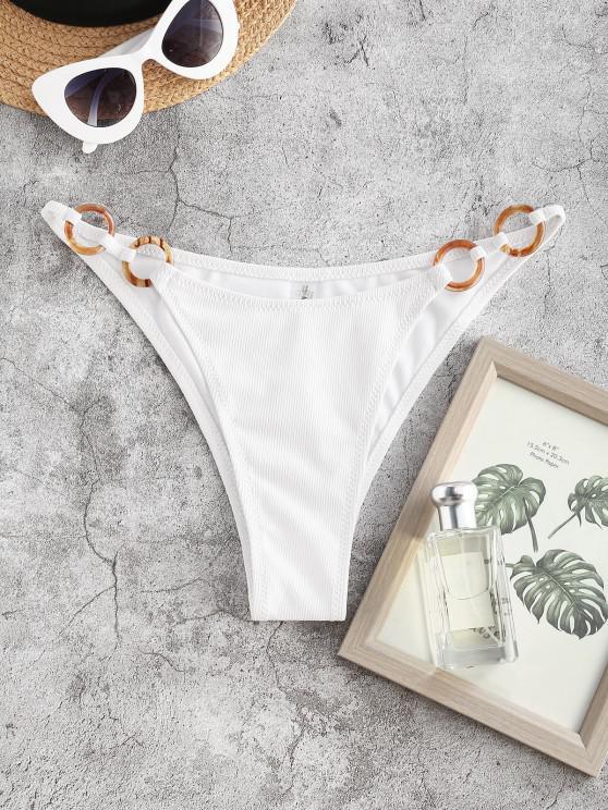 ZAFUL Bas de Bikini Côtelé Anneau en O - Blanc M