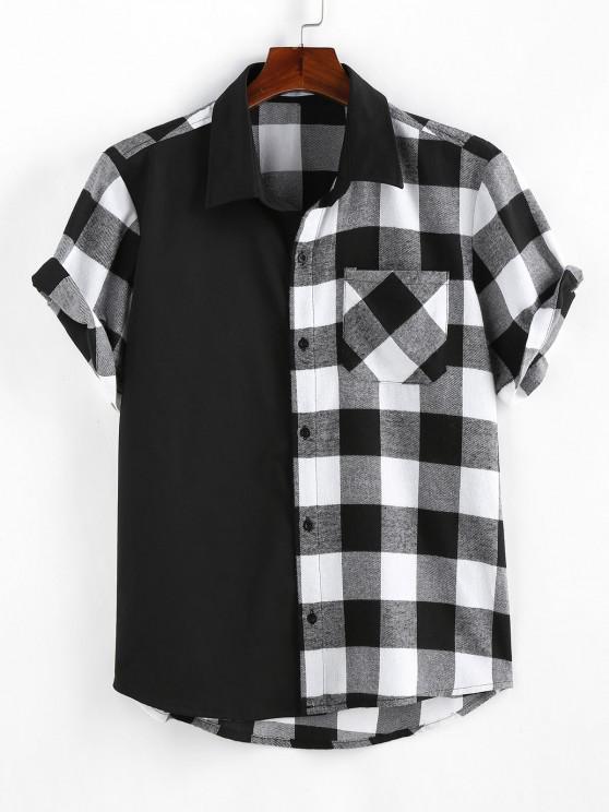 outfits ZAFUL Plaid Printed Button Up Pocket Shirt - BLACK XXL