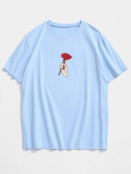 chic Hand Rose Short Sleeve Basic T-shirt - LIGHT BLUE XL