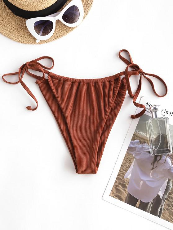 ZAFUL Bottom de Bikini Acanalado con Lazo - café S