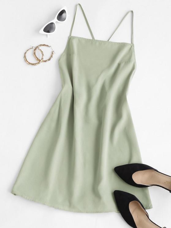women ZAFUL Criss Cross Tied Backless Cami Dress - LIGHT GREEN M