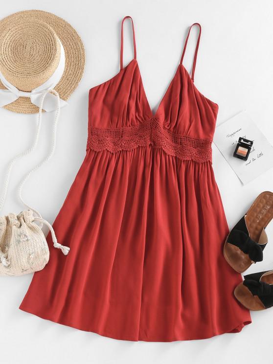 ZAFUL Vestido de Ganchillo con Tirantes Finos Sin Espalda - Rojo XL