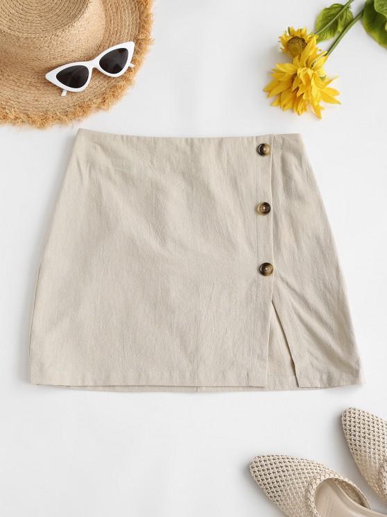 womens ZAFUL Mock Button High Waisted Slit Skirt - LIGHT COFFEE M
