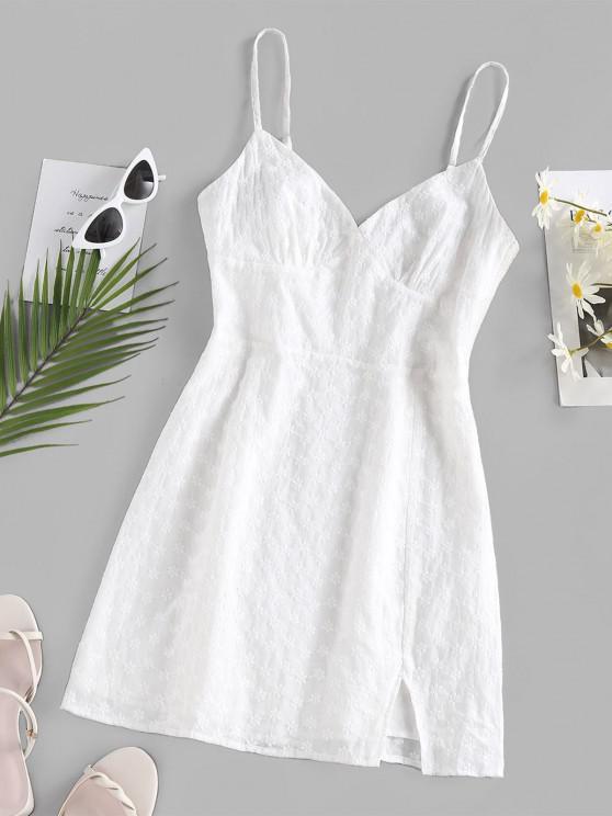 ladies ZAFUL Embroidered Front Slit Mini Dress - WHITE XL