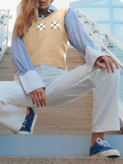 ZAFUL Argyle V Neck Sweater Vest - Khaki L