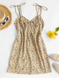 Ditsy Floral Tie Shoulder Bustier Cami Dress - Light Yellow M