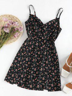 ZAFUL Mini Vestido Floral Corte Frontal - Negro S