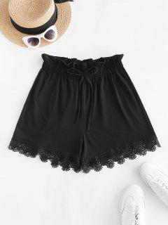 Tie Frilled Guipure Lace Pull On Shorts - Black M