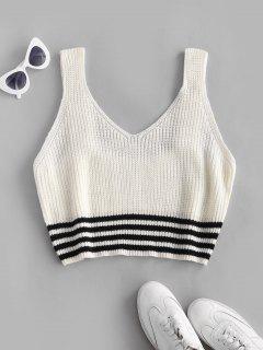 ZAFUL Plus Size Striped Hem Sweater Vest - White 2xl