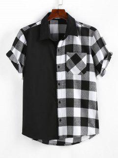 ZAFUL Plaid Printed Button Up Pocket Shirt - Black L
