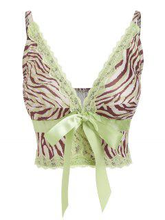 ZAFUL Zebra Print Lace Insert Bowknot Bralette Top - Green S