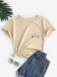 Camiseta Con Estampados De Manos - Café Luz L